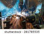 welding robot movement in a car ... | Shutterstock . vector #281785535
