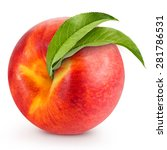 peach with leaf isolated on... | Shutterstock . vector #281786531