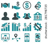 business charts and bank icons. ... | Shutterstock .eps vector #281798735