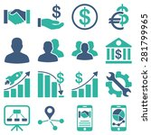 business charts and bank icons. ... | Shutterstock .eps vector #281799965