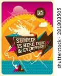 abstract summer poster. vector... | Shutterstock .eps vector #281803505
