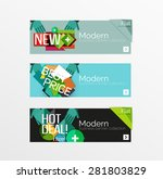 set of banners with stickers ... | Shutterstock .eps vector #281803829
