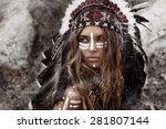 indian woman hunter | Shutterstock . vector #281807144
