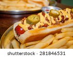 hot dog with cheese and hot... | Shutterstock . vector #281846531