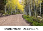 Dirt Road With Yellow Aspens ...