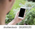 Person Using Mobile Smartphone...