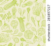 outlined vegetables pattern | Shutterstock .eps vector #281857217