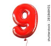 number nine   9 balloon font | Shutterstock . vector #281868431