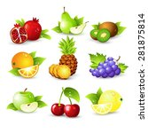 fruit icon set. vector... | Shutterstock .eps vector #281875814