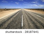 Road through the Nullarbor desert in Australia. Nullarbor means without trees - stock photo