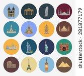 16 flat landmark icons | Shutterstock . vector #281877179