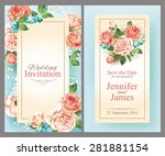 wedding cards with roses....   Shutterstock .eps vector #281881154