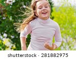 photo of cute running girl in... | Shutterstock . vector #281882975