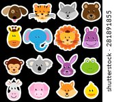 Vector Zoo Animal Sticker...