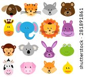 vector zoo animal faces set | Shutterstock .eps vector #281891861