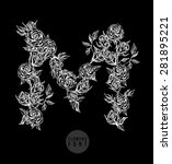 vector flower font. can be used ... | Shutterstock .eps vector #281895221