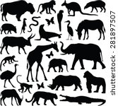 zoo animals collection   vector ... | Shutterstock .eps vector #281897507