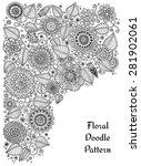 ethnic floral zentangle ... | Shutterstock .eps vector #281902061