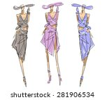 sketch fashion poses  | Shutterstock .eps vector #281906534