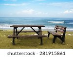 Wooden Bench And A Table Stand...