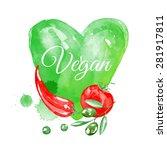vegan background. watercolor... | Shutterstock .eps vector #281917811