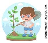 boy plant tree summer   Shutterstock .eps vector #281928425