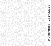 seamless pattern of fruits and... | Shutterstock .eps vector #281932199