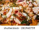 vegetable salad on a white... | Shutterstock . vector #281960759