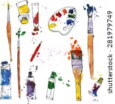 vector set of art materials ... | Shutterstock .eps vector #281979749