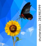 butterfly and sunflower low... | Shutterstock .eps vector #281981999