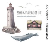 Watercolor Scandinavian Seasid...