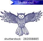 flying hand drawn vector owl.  | Shutterstock .eps vector #282008885