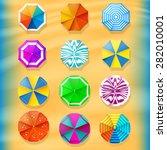 beach umbrellas top view icons. ...   Shutterstock .eps vector #282010001