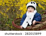laughing boy in harvesting... | Shutterstock . vector #282015899