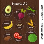 infographic set of vitamin b9... | Shutterstock .eps vector #282018305