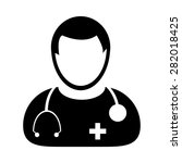 doctor icon   physician with... | Shutterstock .eps vector #282018425