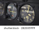 Small photo of Dashboard altimeter detail of an airplane. Horizontal