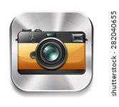 vintage style camera on silver... | Shutterstock .eps vector #282040655