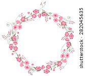 detailed contour wreath with... | Shutterstock .eps vector #282045635