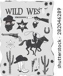 set of wild west cowboy...   Shutterstock . vector #282046289