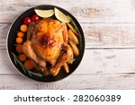 roasted chicken and vegetables... | Shutterstock . vector #282060389
