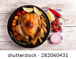 roasted chicken and vegetables... | Shutterstock . vector #282060431