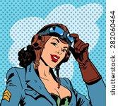 pin up girl pilot aviation army ... | Shutterstock .eps vector #282060464