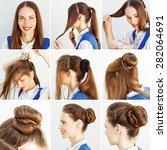 elegant updo tutorial for... | Shutterstock . vector #282064691