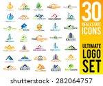 Stock vector real estate logo set creative house logo collection abstract buildings logo set 282064757