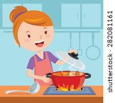 mother cooking. vector... | Shutterstock .eps vector #282081161