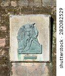 Small photo of NOTTINGHAM, ENGLAND - MAY 26: A plaque depicting Robin Hood and Little John - which is affixed to the exterior wall of Nottingham castle. In Nottingham, England. On 26th May 2015.
