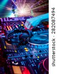 dj mixes the track in the... | Shutterstock . vector #282087494