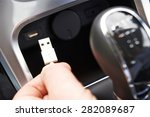 close up of hand holding usb... | Shutterstock . vector #282089687