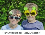 two cute young brothers wearing ... | Shutterstock . vector #282093854